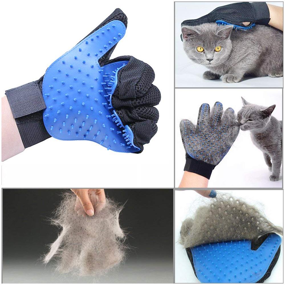 1 Pair Pet Grooming Glove Deshedding Brush Hair Remover Mitt Massage Tool - Blue