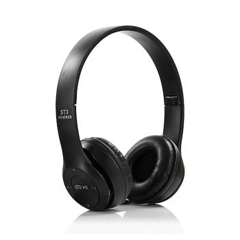 ST3 Wireless Bluetooth Headset Stereo Adjustable On-ear Headphone Earphone - Black