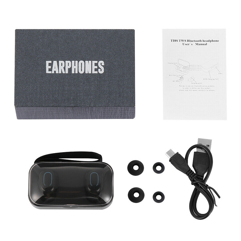 TI8S Mini TWS Wireless In-ear Stereo Bluetooth 5.0 Earphones Earbuds Headset Headphones - Black