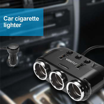 3 Way Multi Car Cigarette Lighter Dual USB Charger Adapter