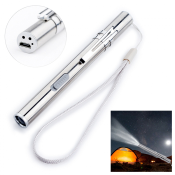 Stainless Steel USB Rechargeable LED Flashlight Mini Torch Light Pen Glare