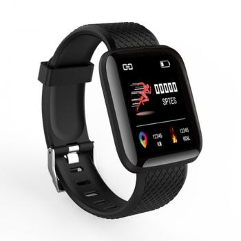 116plus Smart Watch Color Screen Sport Monitor Measure Heart Rate Blood Pressure Blood Oxygen Bluetooth Watch - Black