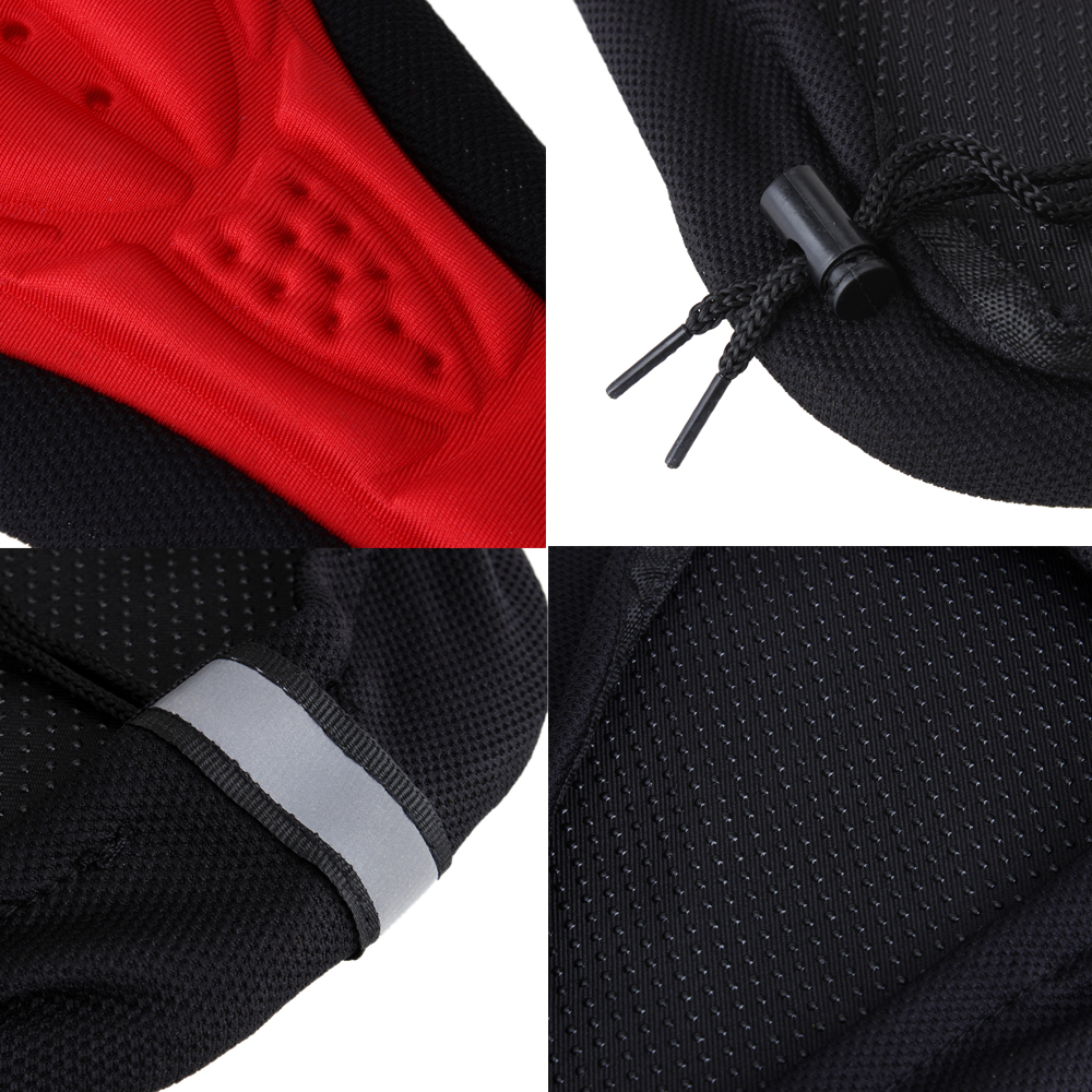 Cycling Bicycle Bike Silicone Saddle 3D Seat Cover Cushion Soft Pad - Red