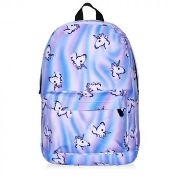 Girls Rainbow Unicorn Flamingo Backpack Rucksack School Travel Shoulder Bag UK - Blue