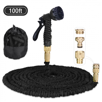 Expandable Water Pipe 3 Times 100ft Garden Hose with Extra Strength Fabric and 7 Function Spray Gun - Black