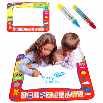 Kids Children Aqua Doodle Drawing Mat Toy Gift One Color Water Painting Writing Board with 2 Magic Pens 80*60CM