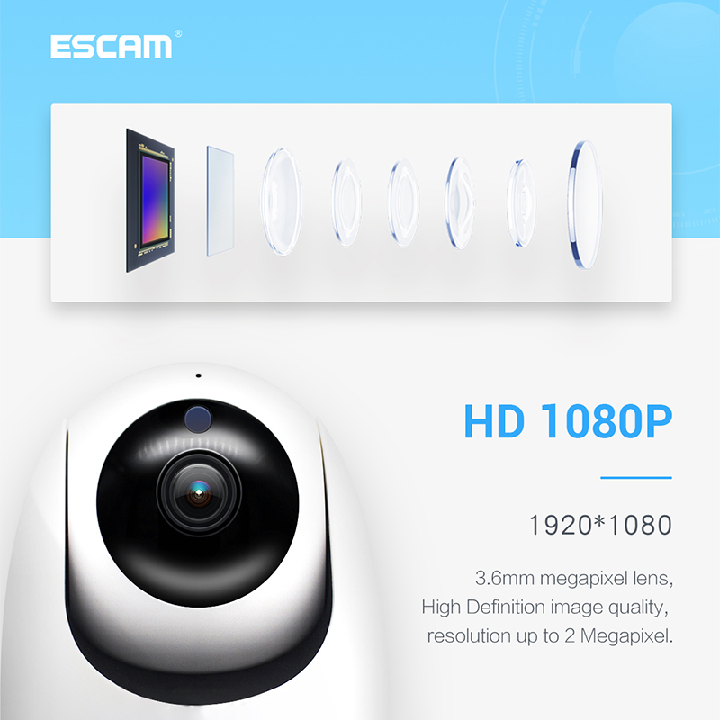 ESCAM PVR008 1080P PT WiFi IR IP Camera Support ONVIF Night Vision 3D Noice Reduction