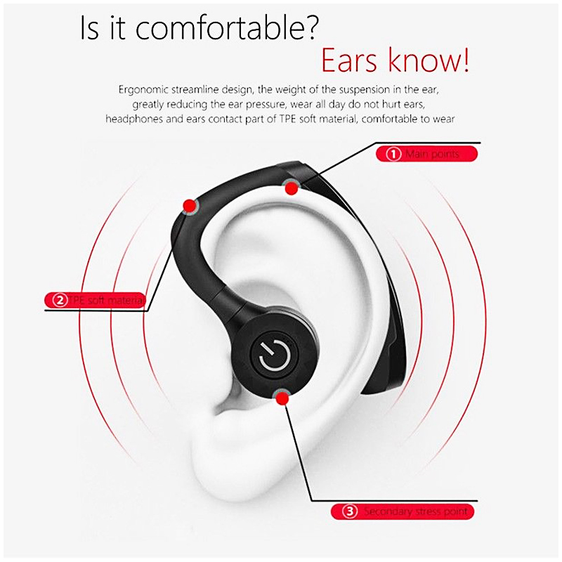 1PCS V11 Unisex Wireless Bluetooth Headsets Stereo Earphone - Black