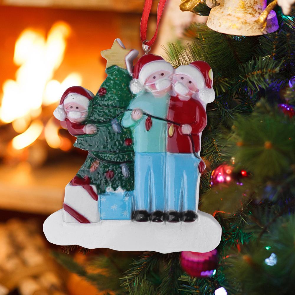 Christmas Tree Ornament 2020 Quarantine Family Xmas Lockdown Decoration - 3 Heads