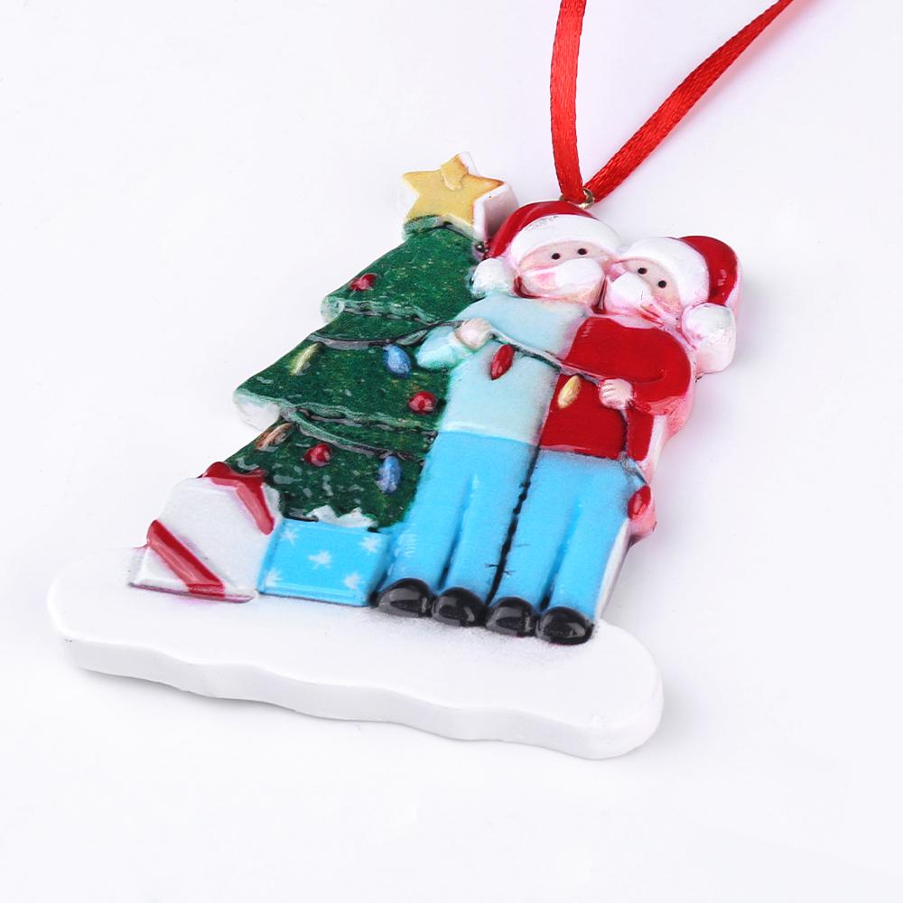 Christmas Tree Ornament 2020 Quarantine Family Xmas Lockdown Decoration - 2 Heads