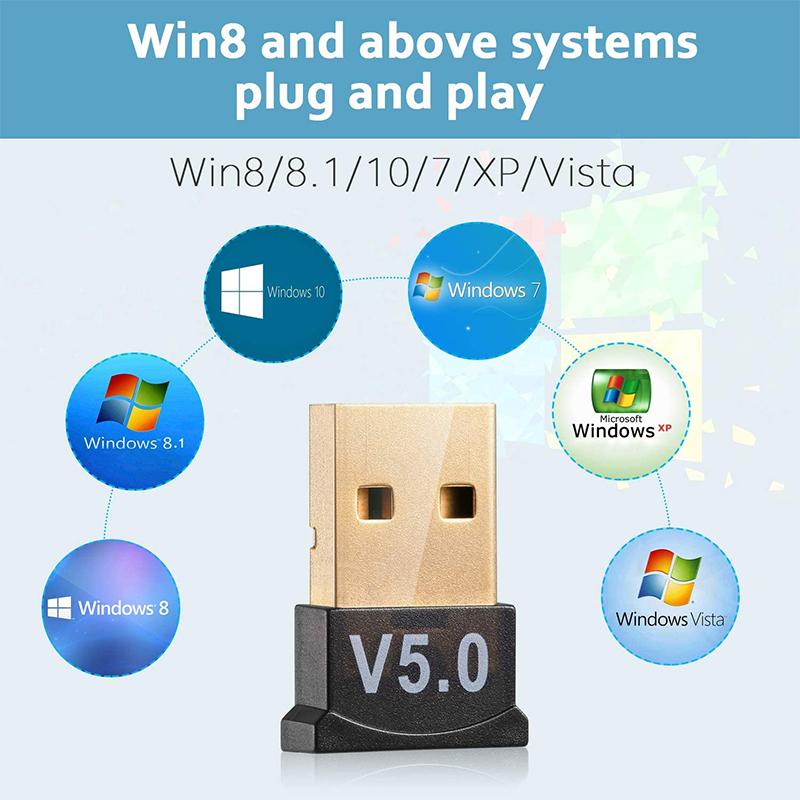 USB Bluetooth 5.0 Adapter for PC Win 10/8.1/8/7/XP/Vista - Square