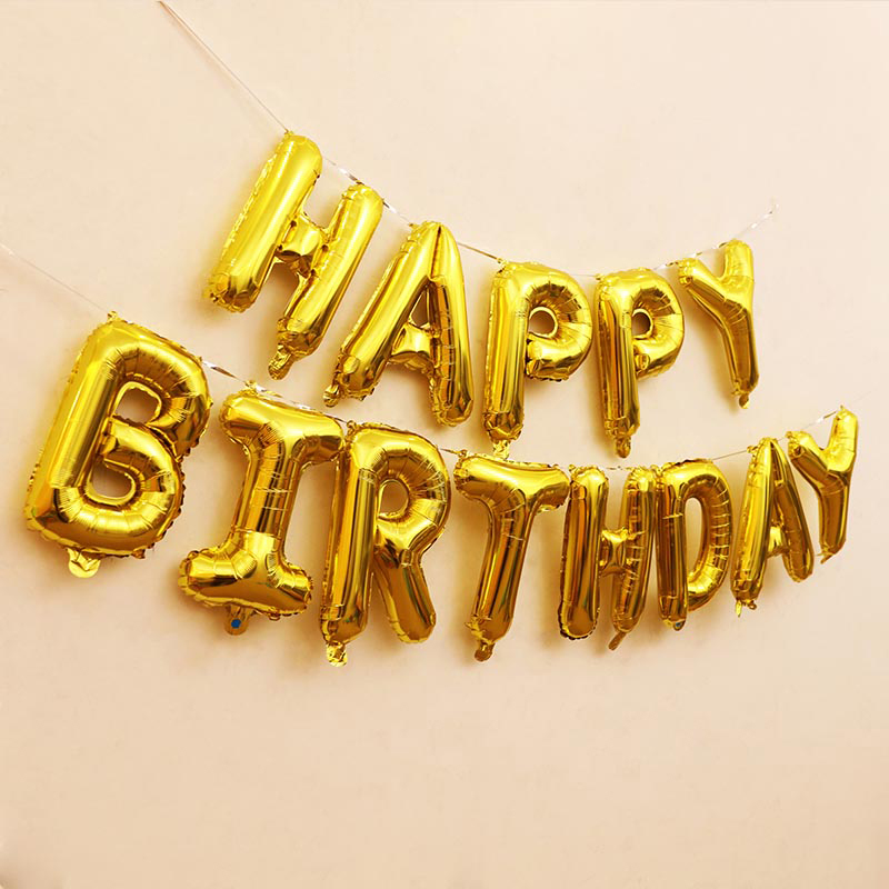 13Pcs/Lot Happy Birthday 16Inches Foil Balloons Party Decoration - Gold