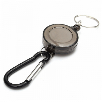 Retractable Keyring Plastic Flexible Pull Ring Key Chain Ring - Black
