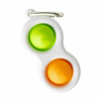 Press Bubble Fun Mini Pressure Relief Silicone Finger Practice Keychain - Green + Orange