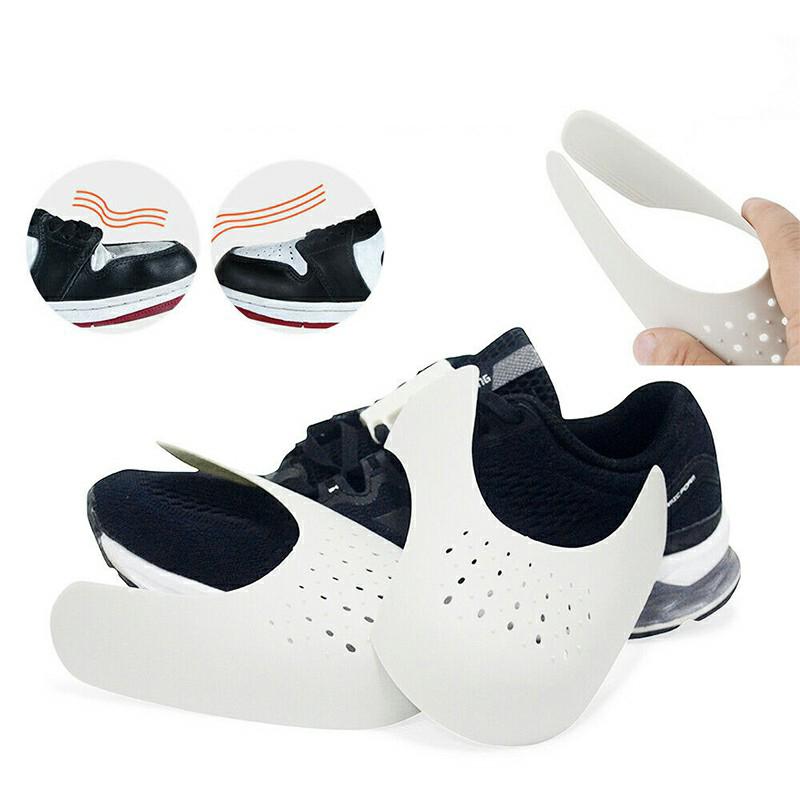 Shoe Trainer Protector Reusable Anti Crease Sneaker Shields Toe Box Decreaser for Men UK 7-12 - White