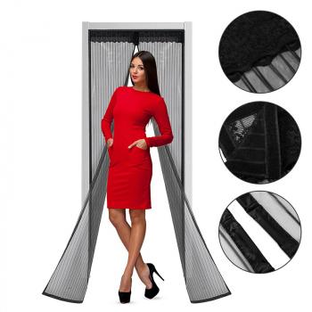 Magnetic Hands Free Summer Mosquito Curtain Door Mesh - Black