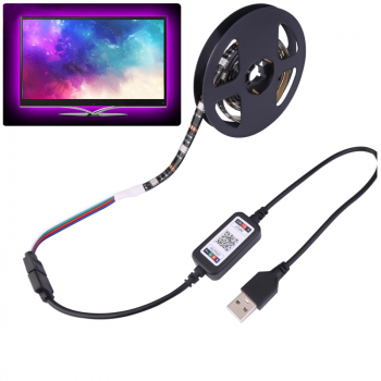 Bluetooth APP Control RGB LED Strip Light USB Powered Car Lights Sync with music 5m