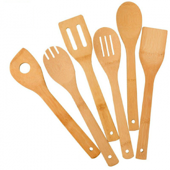 6 pcs Bamboo Wooden Spoons Spatula Kitchen Cooking Tools for Nonstick Cookware and Wok