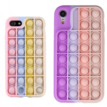 Pop it its Push Bubble Shockproof Soft Silicone Case for iPhone 7/8 - Gradient Purple