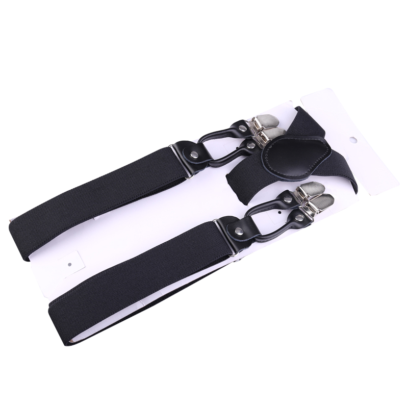 Business Mens Trousers Refined Suspenders Non-slip Shoulder Straps Gift Box Package - Black
