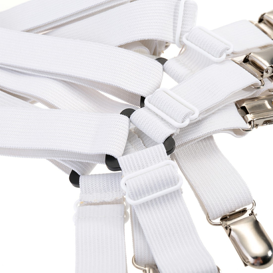 Triangle Sheet Straps Adjustable Bed Sheet Fastener Suspenders Grippers Corner Holder - White