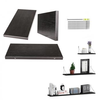 Large Set of 3 Floating Wall Shelves Storage Display Shelf Black 30/40/50CM