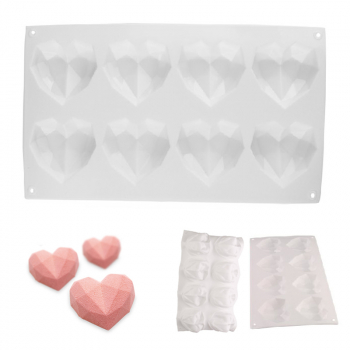 8 Hearts DIY Chocolate Ice Jelly Baking Mold 3D Love Heart Shaped Silicone Bakeware Mould  - White