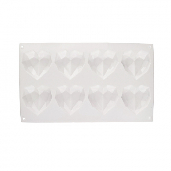6 Hearts DIY Chocolate Ice Jelly Baking Mold 3D Love Heart Shaped Silicone Bakeware Mould  - White