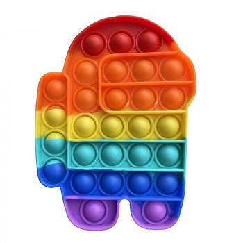 Pop it Fidget Board Among Us Pop it Easy Carry Durable and Fun - Rainbow