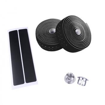 Handlebar Tape Bike Bicycle Road Sports Cork Grip Wrap Ribbon Tape and Bar Plug Handlebar Tape - Black
