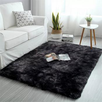 90x160cm Warm Shaggy Rugs Floor Carpet Area Soft Large Rug Home Mats Living Room Bedroom - Black