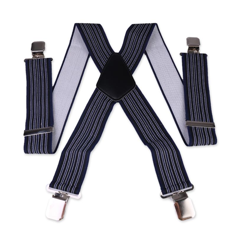 Heavy Duty Unisex Plain Braces Elastic Wide Durable Trouser Stripe Suspender - Blue