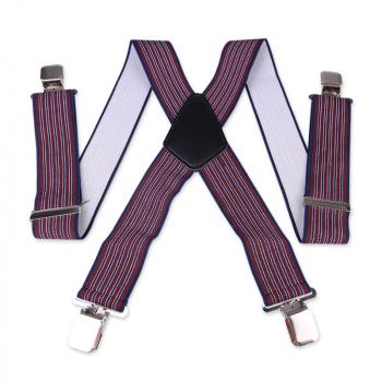 Heavy Duty Unisex Plain Braces Elastic Wide Durable Trouser Stripe Suspender - Wine Red