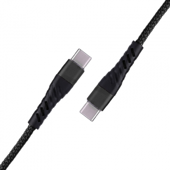 1m USB C to USB C Fast Charger Durable Nylon Braided Charging Cable - Black