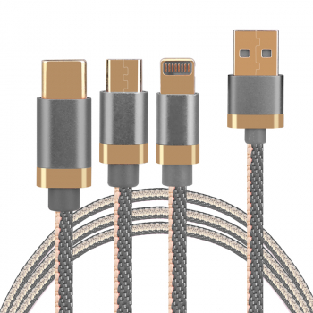 3 in 1 Portable Type C Micro 8pin USB Braided Charging Cable 1.2m - Grey