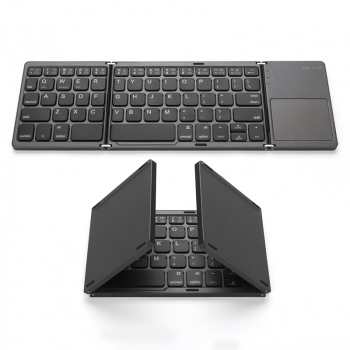 Multi Device Universal Wireless Bluetooth Keyboard Foldable Keyboard with Touch Pad for iOS Android Windows iPhone iPad Tablet MAC - Black