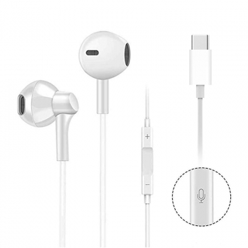 High Quality USB C Digital Earbuds with Microphone Noise Cancelling HiFi Stereo Headphones - White
