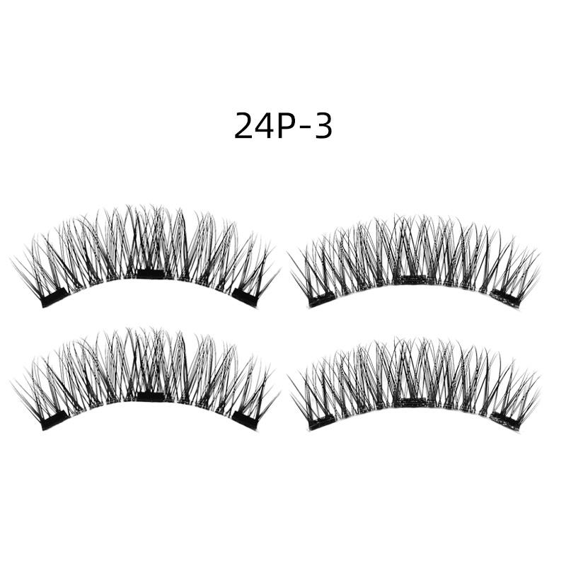 4pcs 3D Double Magnetic Fake Eyelashes No Glue Reusable Fake False Eye Lashes - 24P