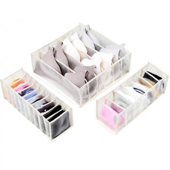 3 pcs Underwear Bra Socks Ties Drawer Organizer Storage Box Divider Tidy Wardrobe - White