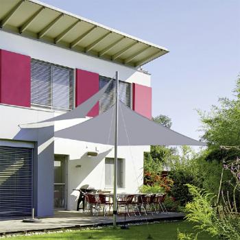 400D Triangle Outdoor Shade Sail Patio Suncreen Awning Garden Sun Canopy 98% UV Block Grey - 3x3x3m