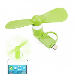 Portable 2 in 1 Phone Mini Fan Cooling Cooler for iPhone 6/7/8/XS Huawei Samsung - Green