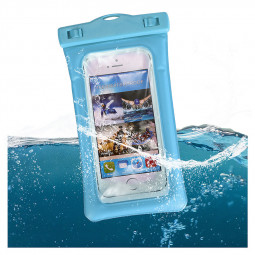 6 Inches Universal Inflatable Floating Waterproof Pouch Phone Dry Bag Case - Blue