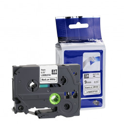 Standard Laminated Label Tapes to Brother P-Touch Tape 9MM - Black on White