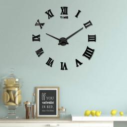 DIY 3D Wall Clock Roman Numerals Large Mirror Surface Luxury Big Art Clock - Black