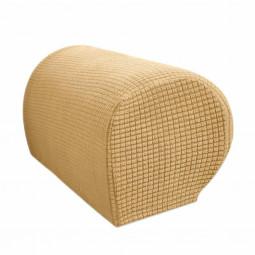 1 Pair of Polar Fleece Removable Sofa Armrest Cover Armchair Couch Chair Arm Protector - Beige