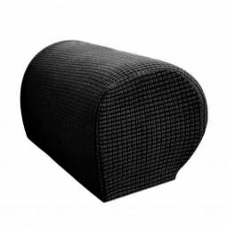 1 Pair of Polar Fleece Removable Sofa Armrest Cover Armchair Couch Chair Arm Protector - Black