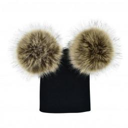 Girls Women Winter Warm Double-Fur Beanie Cap Chunky Knit Leisure Lovely Hat - Black