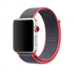 38mm Apple Watch Band Sports Loop Woven Nylon Watchband Strap for iWatch Series 3/2/1 - Pink + Grey