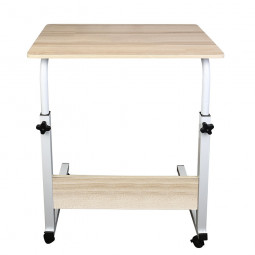 Movable Lifting Adjustable Bedside Computer Table Portable Laptop Synthetic Wood Table - Khaki