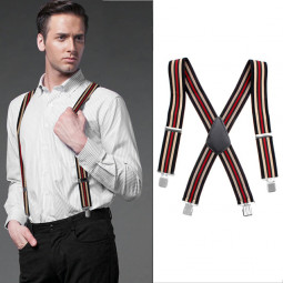 50MM Adjustable Stripe Plain Mens Braces Suspenders Heavy Duty Trouser Elastic